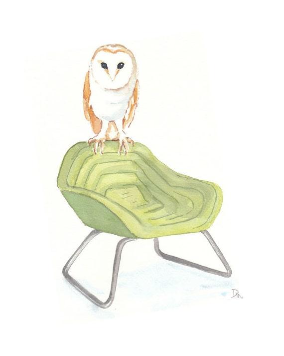 Original Owl Watercolor - Modern Chair, Owl Art, 8x10