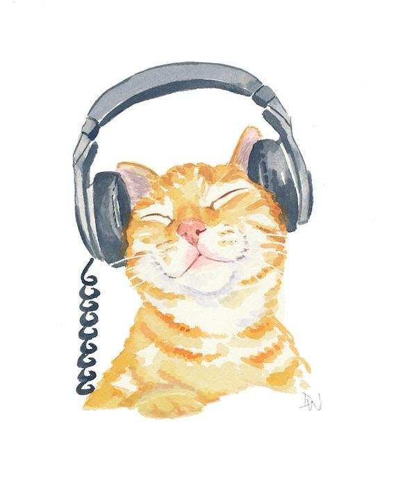 Cat Watercolor Painting - Original Art, Orange Tabby, Music, Headphones,  8x10