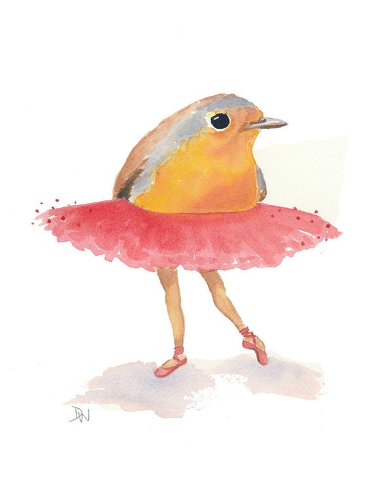 Ballet Bird Watercolor Painting - Original Art, Robin, nursery art, Pink Tutu, 8x10
