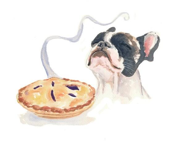 Boston Terrier Watercolor - Dog Watercolor, Original Painting, Pie, 10x8