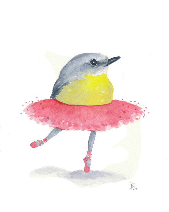 Ballet Bird Watercolor - Eastern Yellow Robin, Bird Illustration, Ballet Art, Nursery Art