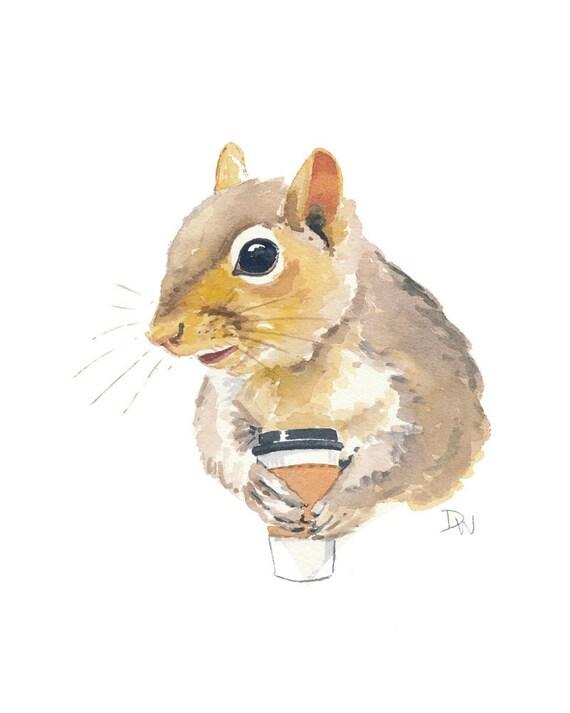 Original Squirrel Watercolor Illustration - Coffee,  Animal Art, Humor, 8x10