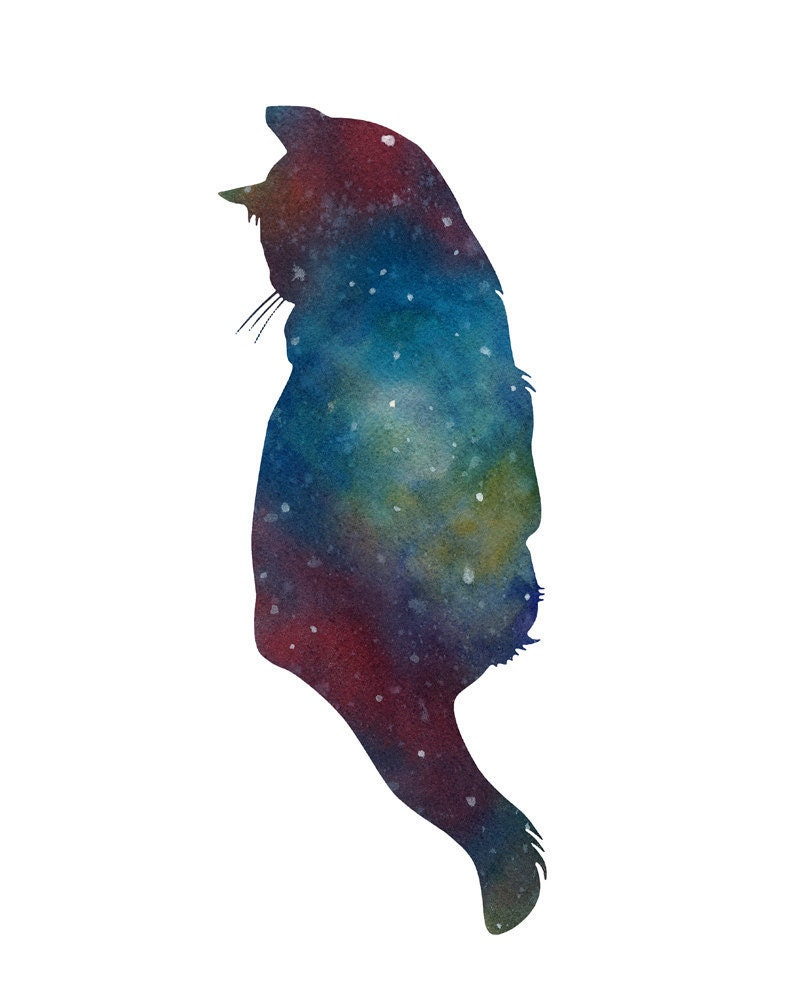 Cat watercolor print galaxy deep space stars by waterinmypaint for Cool watercolour