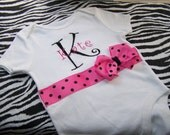 Personalized Ribboned Onesie - Pink with black polka dots