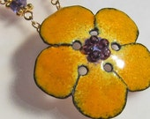 Flower Necklace, Yellow Necklace, Enamel Jewelry, Bohemian Jewelry, Nature Jewelry