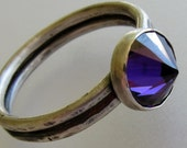 Silver ring, Upside down ring, purple cubic zirconia, one of a kind artisan jewelry