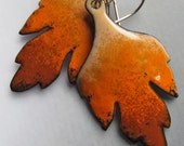 Leaf Earrings, Orange Earrings, Enamel Jewelry, Nature Jewelry