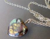 Pearl Heart Necklace, Single Pearl Pendant, Silver Pearl Pendant, Sterling Silver