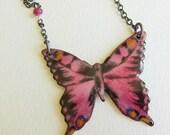 Enamel Butterfly Necklace, Enamel Jewelry, Nature Jewelry, Bohemian Jewelry