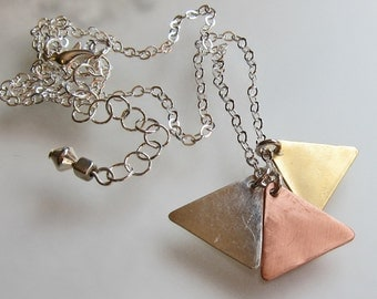Mixed metal triangle necklace Simple modern everyday jewelry Silver brass copper minimalist pendant On sale Under 30