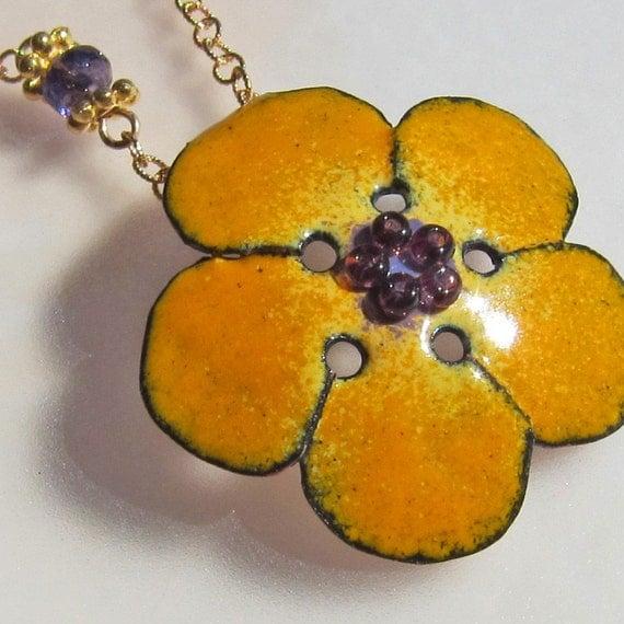 Flower Necklace, Yellow Necklace, Enamel Jewelry, Bohemian Jewelry, Nature Jewelry