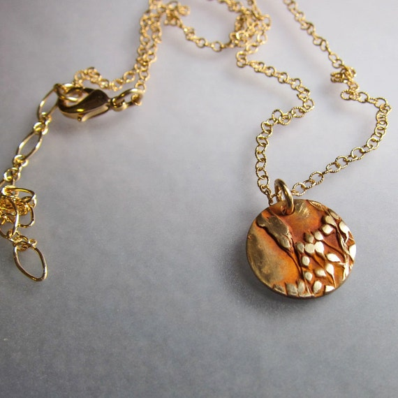 Floral Bronze Gold Disc Necklace, Nature Jewelry, Gold Pendant Necklace, Delicate