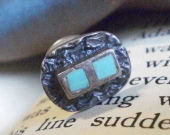 Vintage Sterling and Turquoise Tie Tack Pin