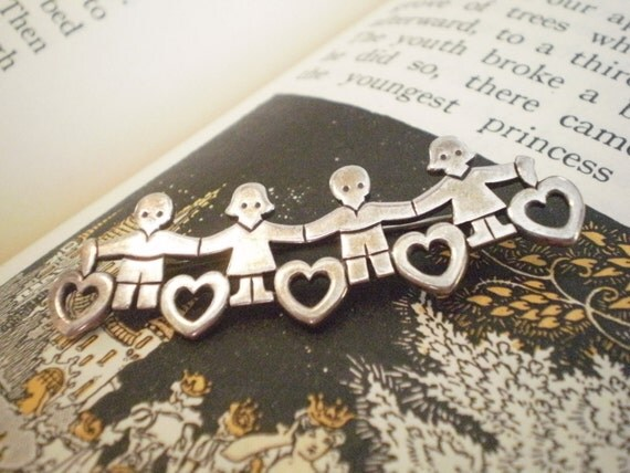 Vintage Retired James Avery Children Hearts Brooch Pin