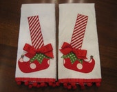 Appliqued  Christmas Elf Shoes Dish Towels