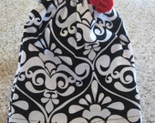 18 inch Doll Flutter Sleeve  Peasant Dress Black and White Damask