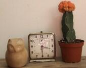 Vintage White Industrial Square Alarm Clock