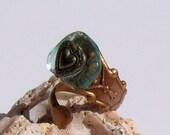 De Lovely Heart Sea Glass Spoon Ring