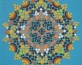 Print of Beach Blue Mandala - Archival Ink on Archival Paper - Reproduction - Beautiful Vibrant Blue Mandala Print - Affordable Art