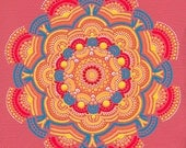 Art Print of Orange Sun Coral Mandala - Archival Reproduction of an Original Painting on Canvas