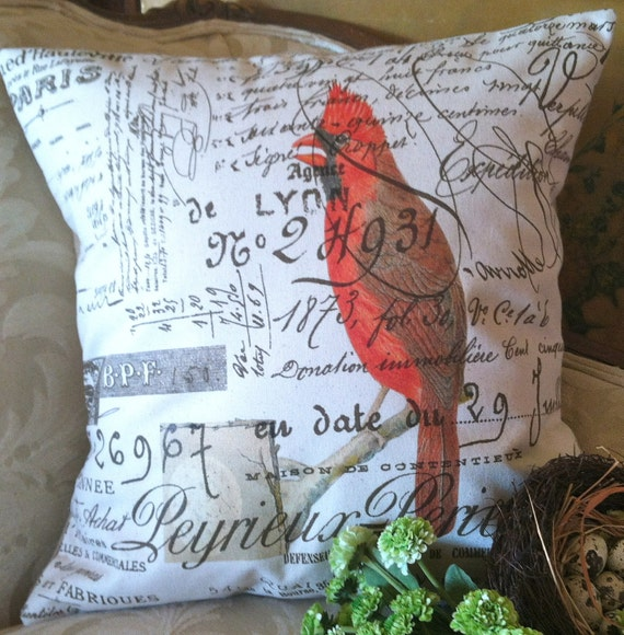 Cardinal French Script Canvas and Burlap Pillow Cover by Gathered Comforts