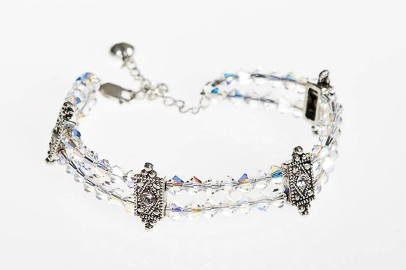 Swarovski Crystal Double Strung Bracelet, Swarovski Bracelet, Beaded Bracelet, Handmade Bracelet