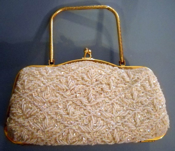 Vintage White Hand Beaded Sequin Evening Bag Purse