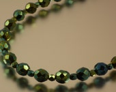 Single Strand Iris Green Necklace