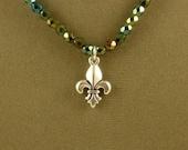 Iris Green Necklace with Fleur-De-Lis Pendant