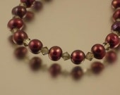 Cranberry Pearl and Black Diamond Crystal Necklace