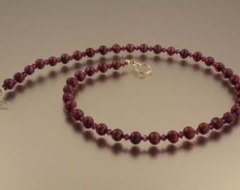 Cranberry Pearl and Ruby Crystal Necklace