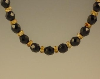 Jet Faceted Round Necklace with Tortoise Lustre Rondelles