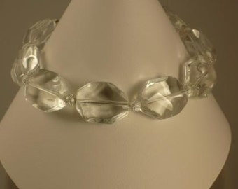 Faceted Clear Glass and Stardust Bead Bracelet