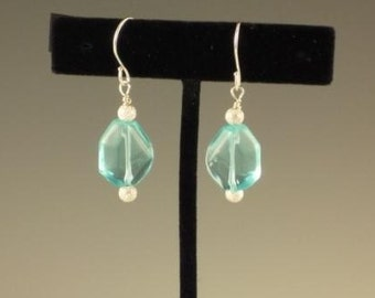 Aqua Faceted Glass and Stardust Bead Earrings