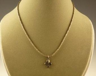 Dark Gold Seed Bead Necklace with Gunmetal Fleur De Lis Pendant