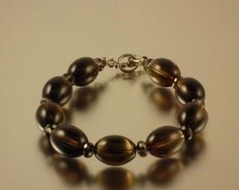 Smoky Quartz Oval Crystal Bracelet