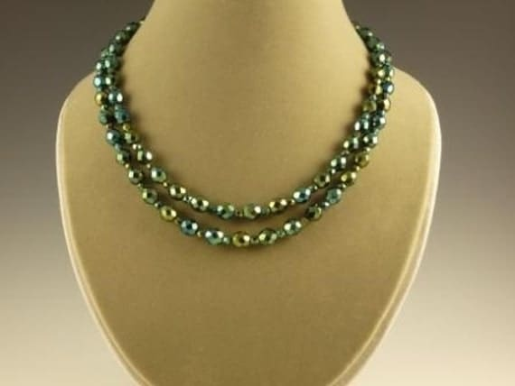 2 strand iris green necklace with dragonfly clasp
