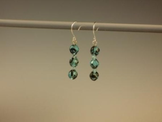 Czech Fire Polished Turquoise and Black Faceted Round Earrings