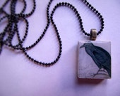 Scrabble Tile Pendant--Thus Quoth The Raven