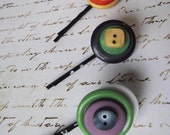 BUTTON Bobby pin sets---multicolor Vintage buttons stack hair accessory