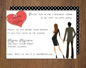 Modern rehearsal dinner engagement party or other custom invitation design with cute couple illustration