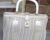 Vintage Ladies White Wicker with Mother of Pearl Handles Purse British Hong Kong 1950s  REDUCED PRICE