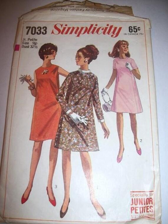 Ladies Junior Petite Vintage Simplicity 7033 Dress Pattern Size 9jp Bust 32.5 princess tent dress