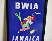 Mid Century Original BWIA Jamaica Airline Travel Poster