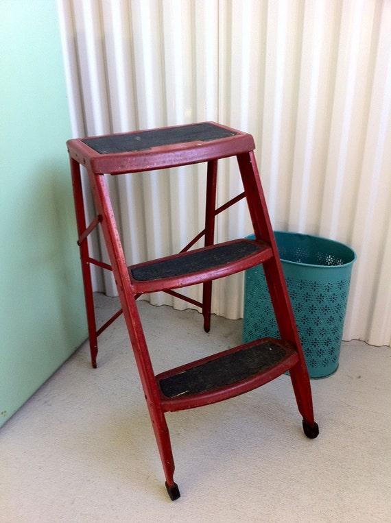 Vintage Red Industrial Metal Folding Step Ladder By