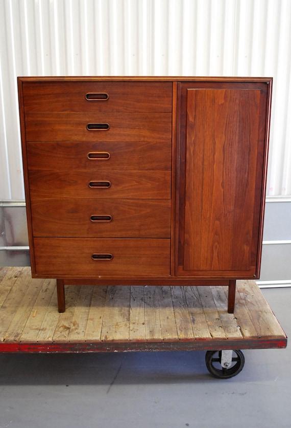 Danish Modern Style Vintage Walnut Gentlemens Dresser