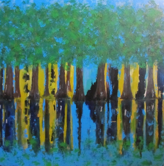 Trees on Water Original Acrylic Painting 36 x 36