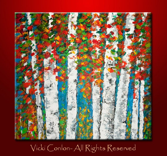 Aspen trees acrylic painting on canvas 36x36x1 1 2 for How paint on canvas