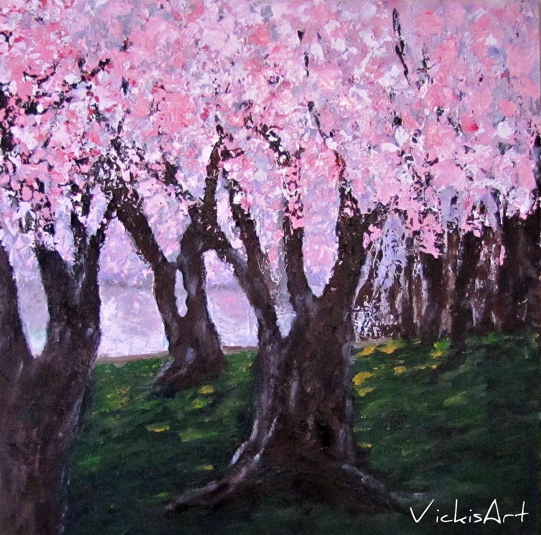 cherry blossom trees original acrylic painting original