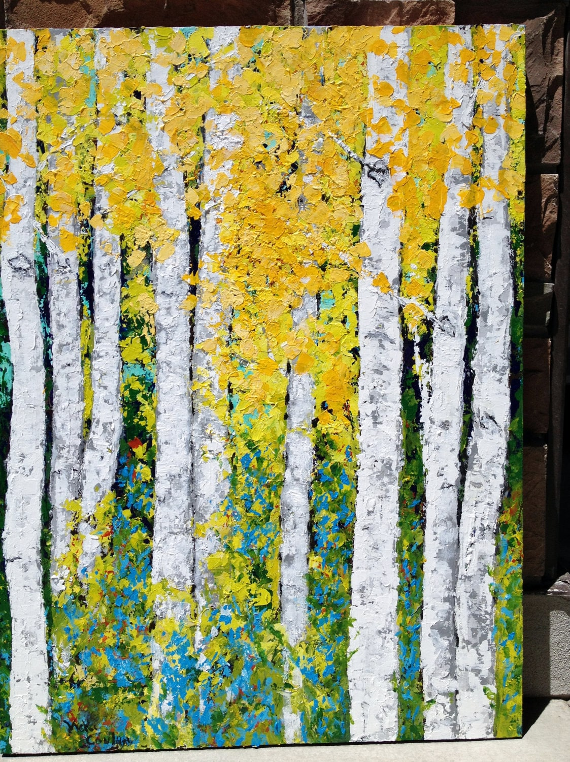 aspen birch trees original acrylic painting on 24 x 36 canvas